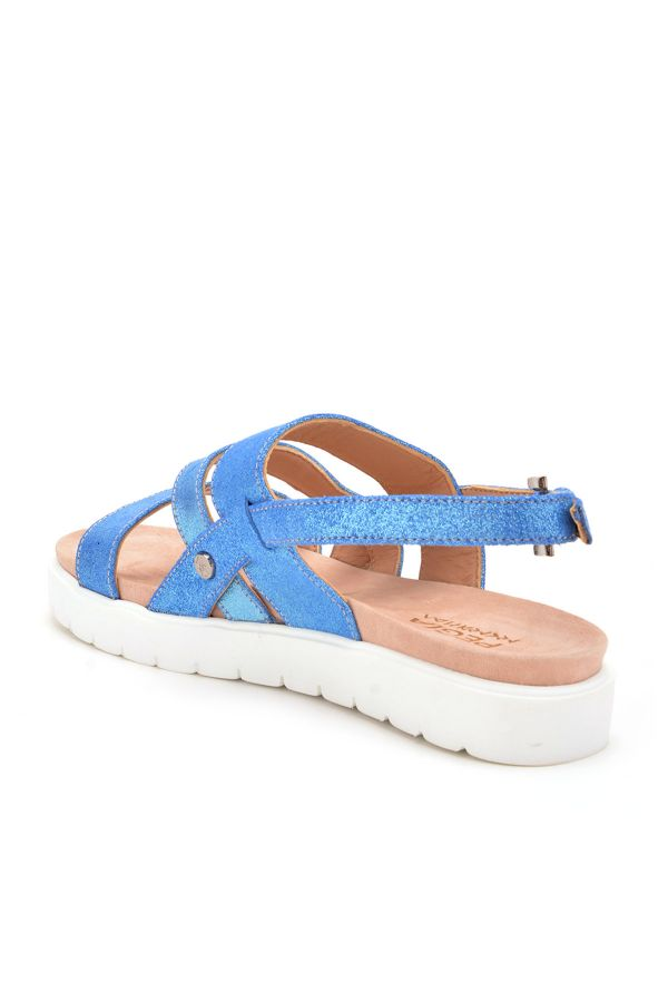 Pegia Gabrielle Women Sandals From Genuine Leather Blue