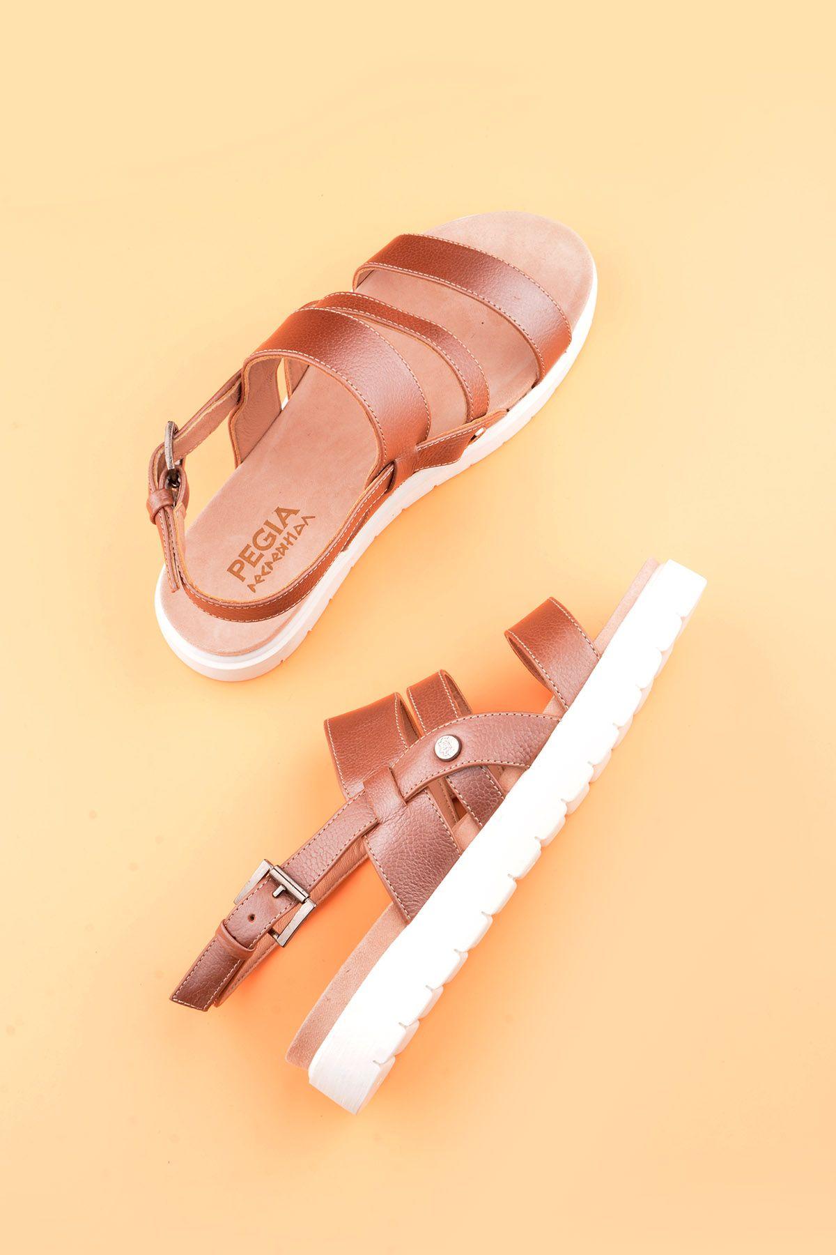 Pegia Gabrielle Hakiki Deri Kadın Sandalet Pudra