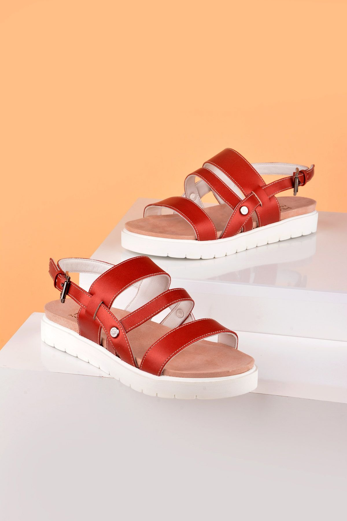 Pegia Gabrielle Women Sandals From Genuine Leather Claret red