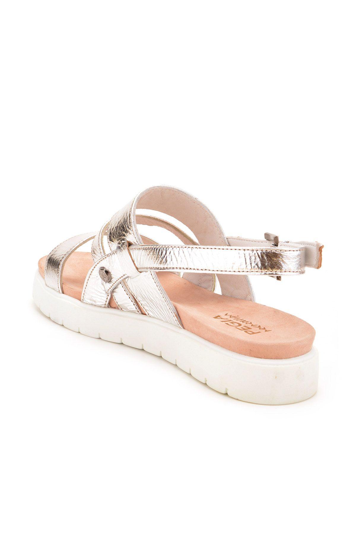 Pegia Gabrielle Hakiki Deri Bayan Sandalet  Gümüş