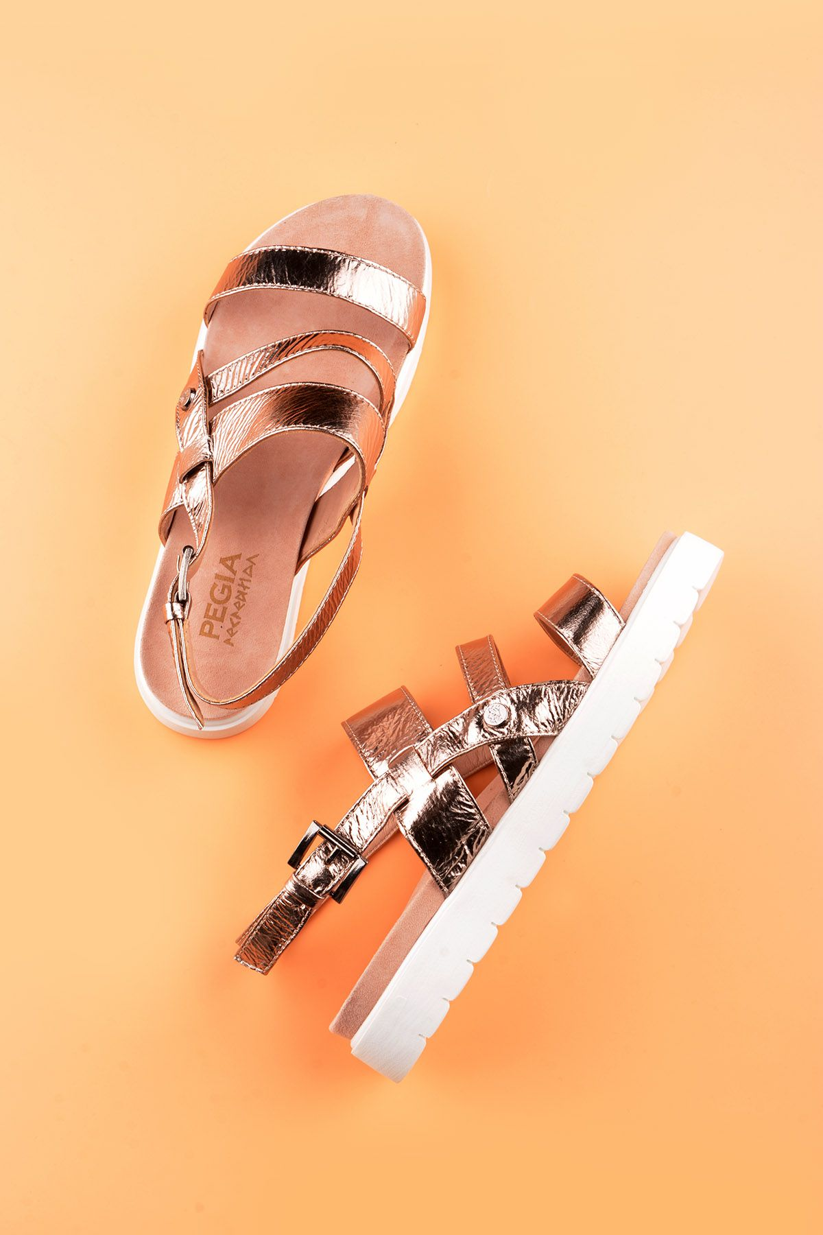 Pegia Gabrielle Women Sandals From Genuine Leather Bronze