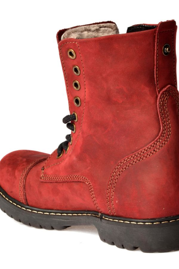 Pegia Laced Women Boots From Genuine Fur And Nubuck Claret red