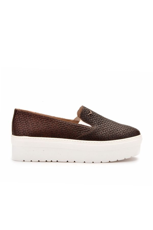 Art Goya High-Soled Women Sneakers From Genuine Leather With Braided Pattern Brown