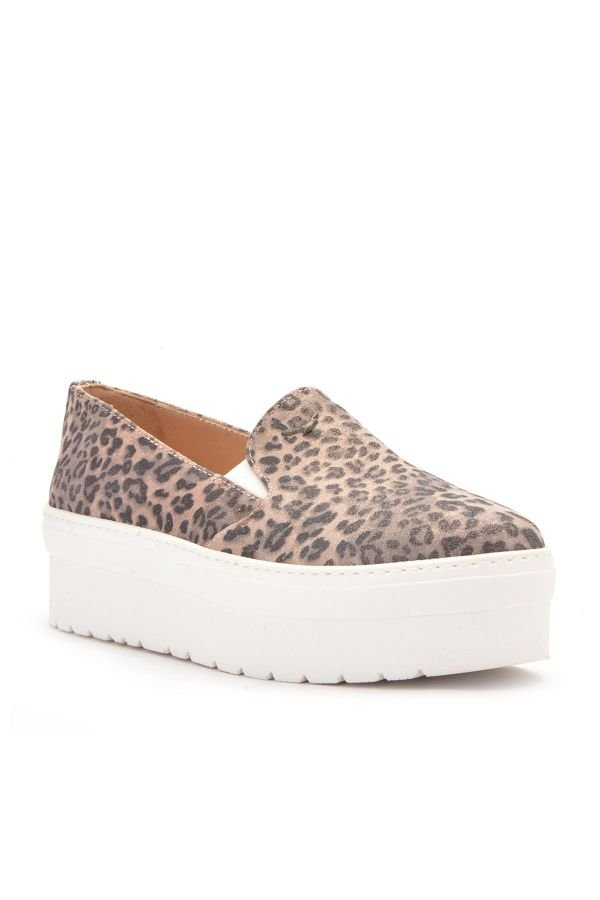 Art Goya High-Soled Women Sneakers From Genuine Leather With Leopard Pattern Beige