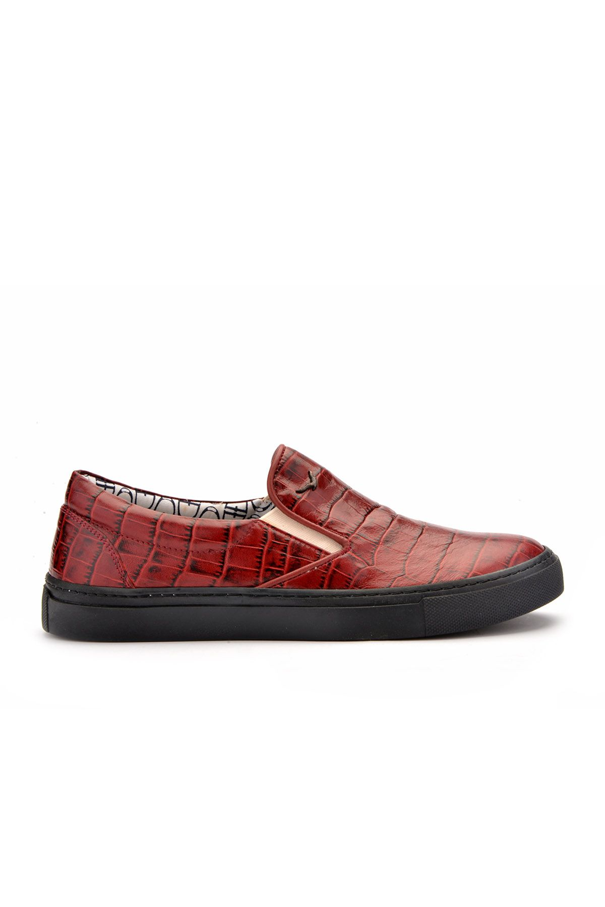Art Goya Patterned Women Sneakers From Genuine Leather Claret red