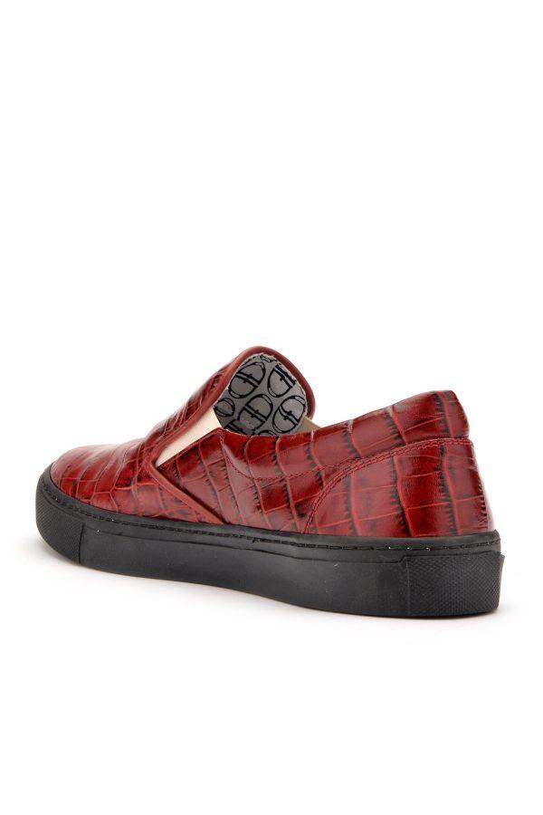 Art Goya Hakiki Deri Baskılı Bayan Sneaker  Bordo