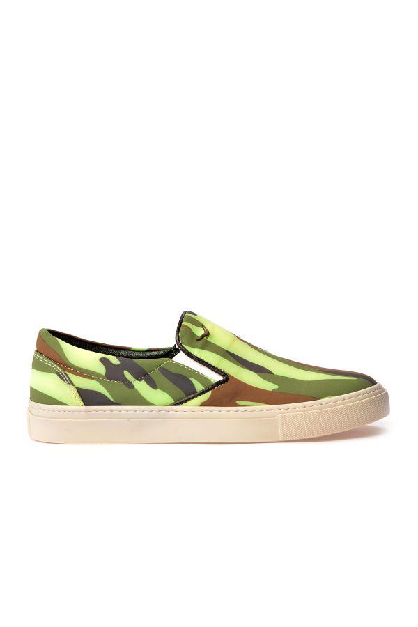 Art Goya Women Sneakers With Camouflage Pattern Green