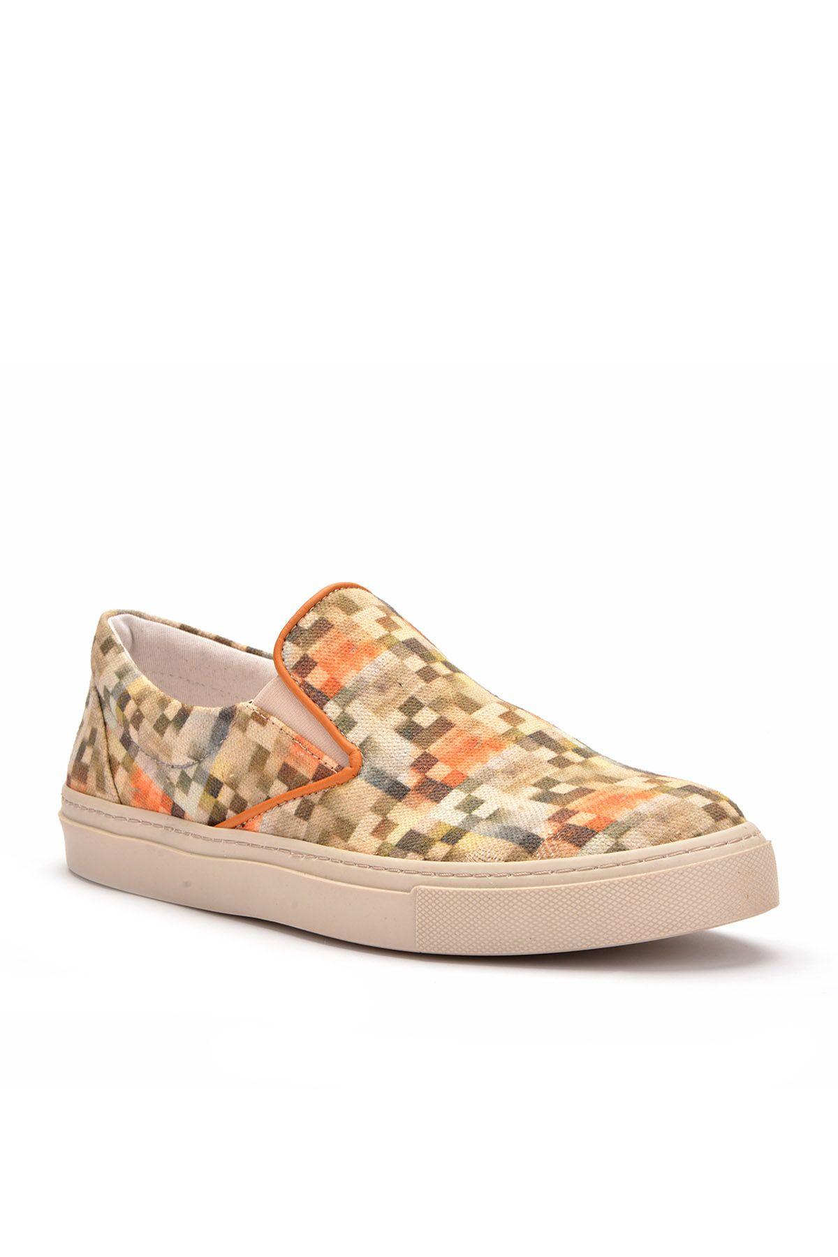 Art Goya Linen Women Sneakers With Square Pattern Cream