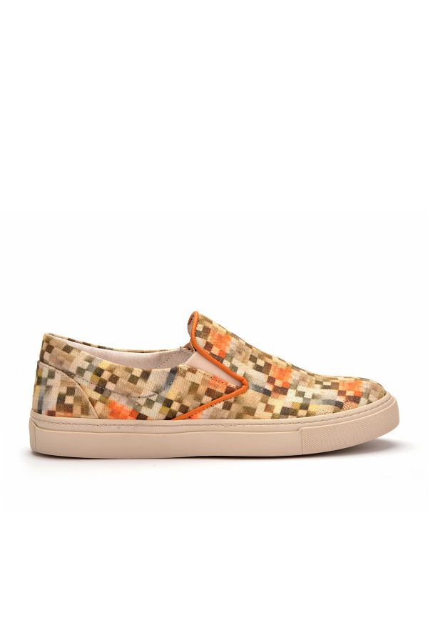Art Goya Linen Women Sneakers With Square Pattern Cream