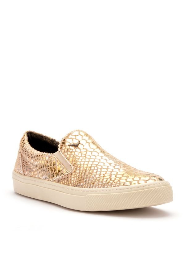 Art Goya Women Sneakers From Genuine Leather With Snake Pattern Golden