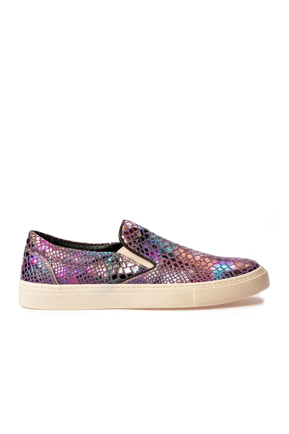 Art Goya Women Sneakers From Genuine Leather With Snake Pattern Rainbow-hued