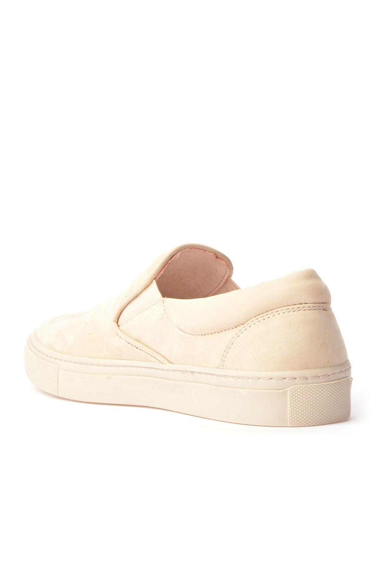 Art Goya Hakiki Nubuk Deri Bayan Sneaker  Bej