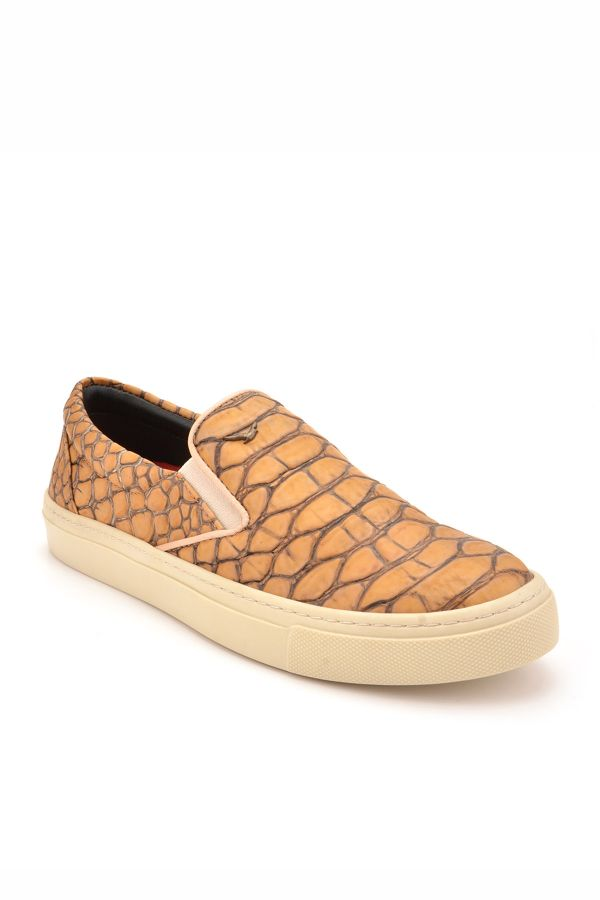 Art Goya Women Sneakers From Genuine Leather With Snake Printing Sand-colored