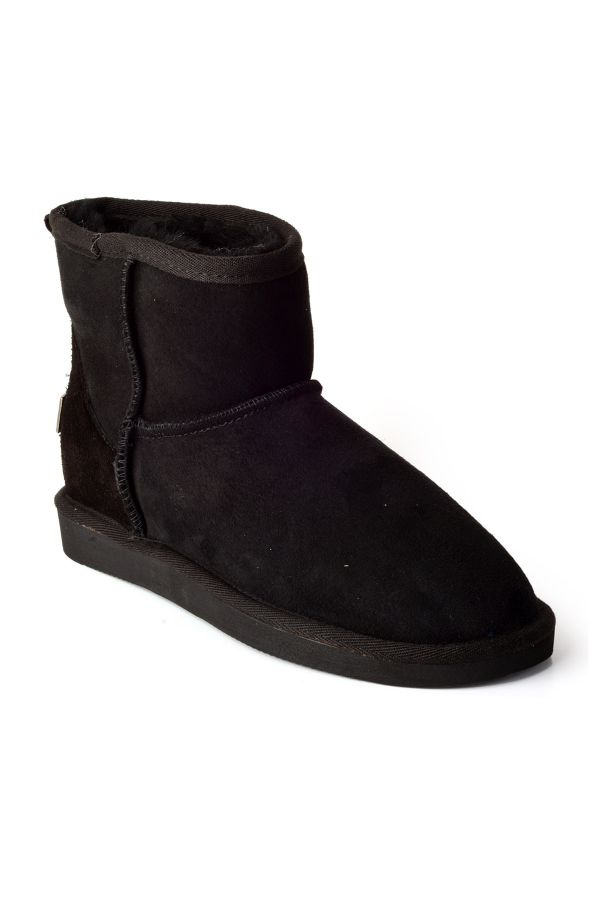 Pegia Short Women Uggs From Genuine Suede And Fur Black