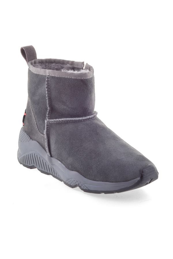 Pegia Women Boots From Genuine Fur With Side Zip Gray