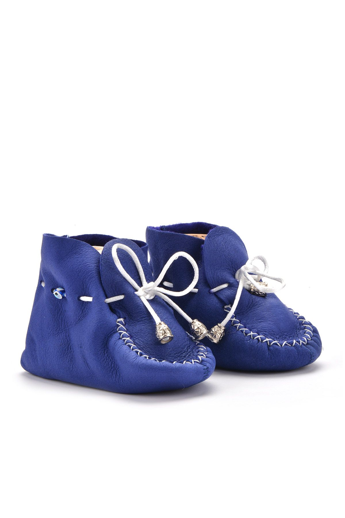 Pegia Laced Kids Booties From Genuine Fur Indigo-blue