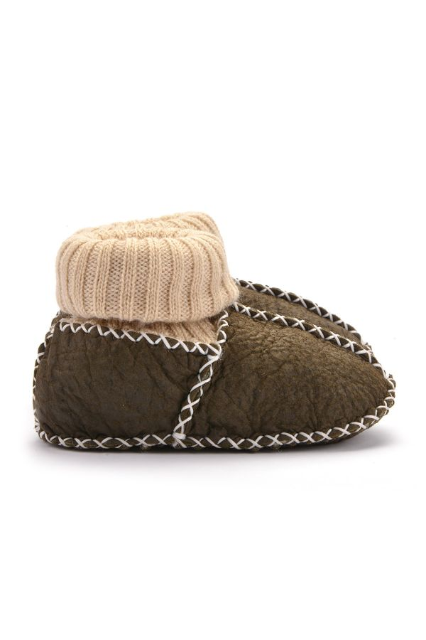 Pegia Kids Booties From Genuine Fur Khaki