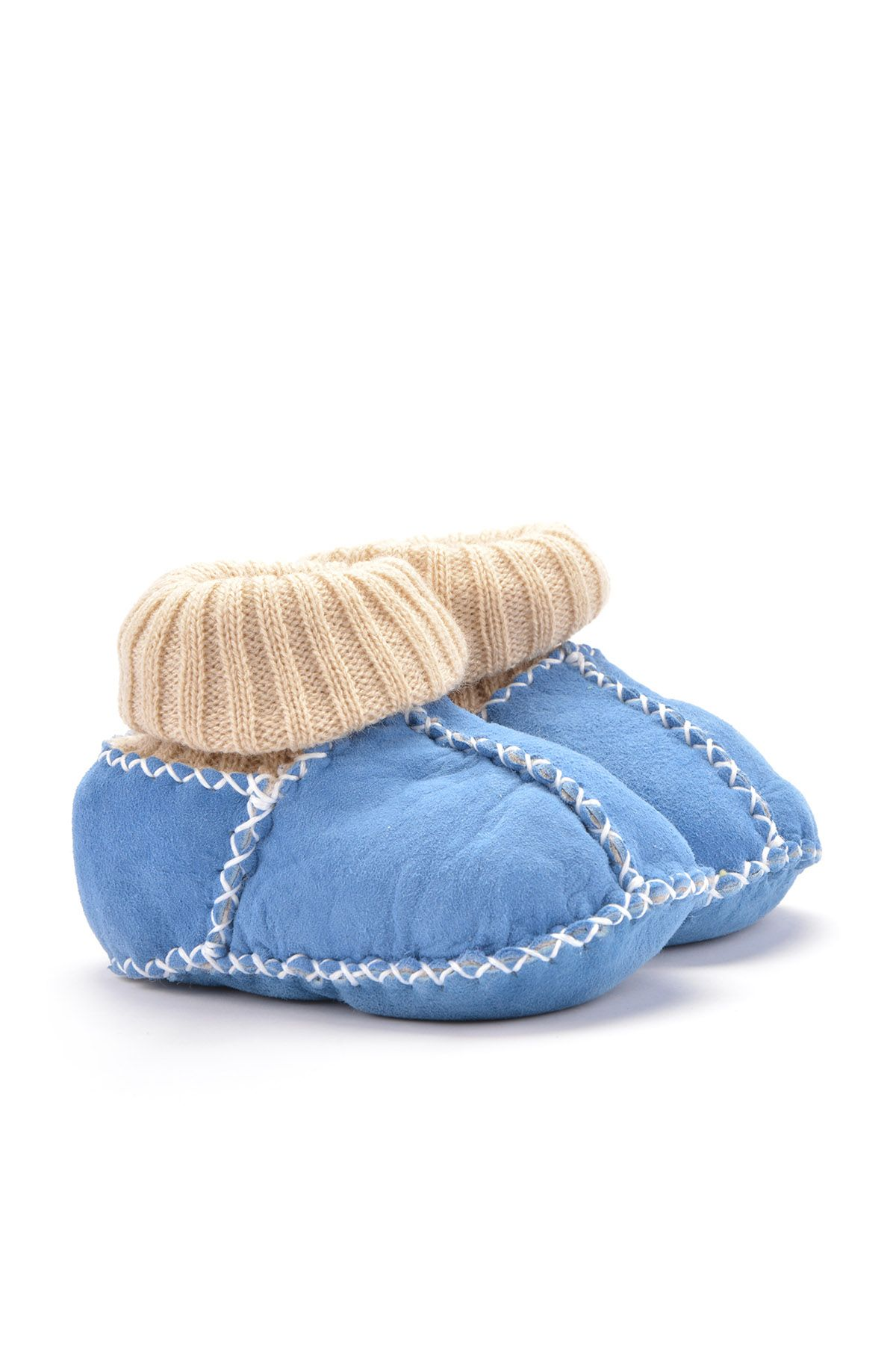 Pegia Kids Booties From Genuine Fur Blue
