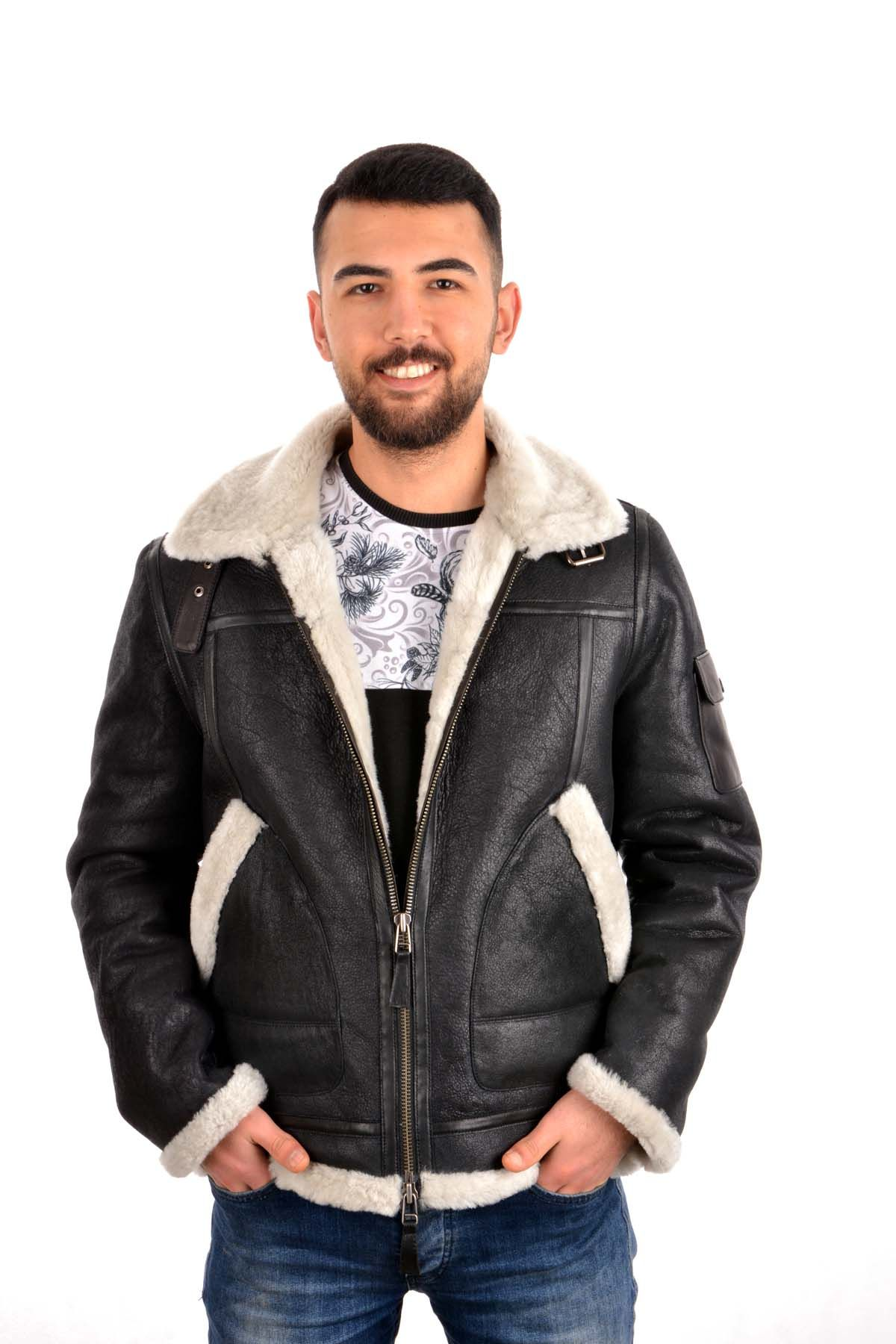 Pegia Men Fur Jacket Black And White