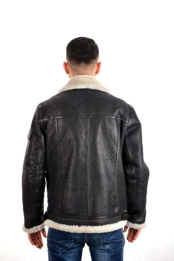 Pegia Men Fur Jacket Black And White