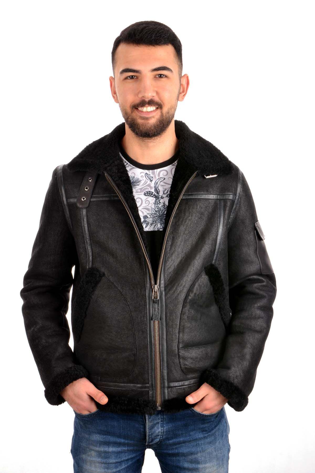 Pegia Men Fur Jacket Black