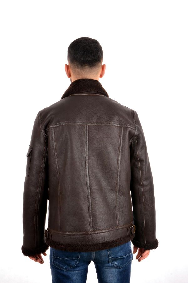 Pegia Men Fur Jacket Brown