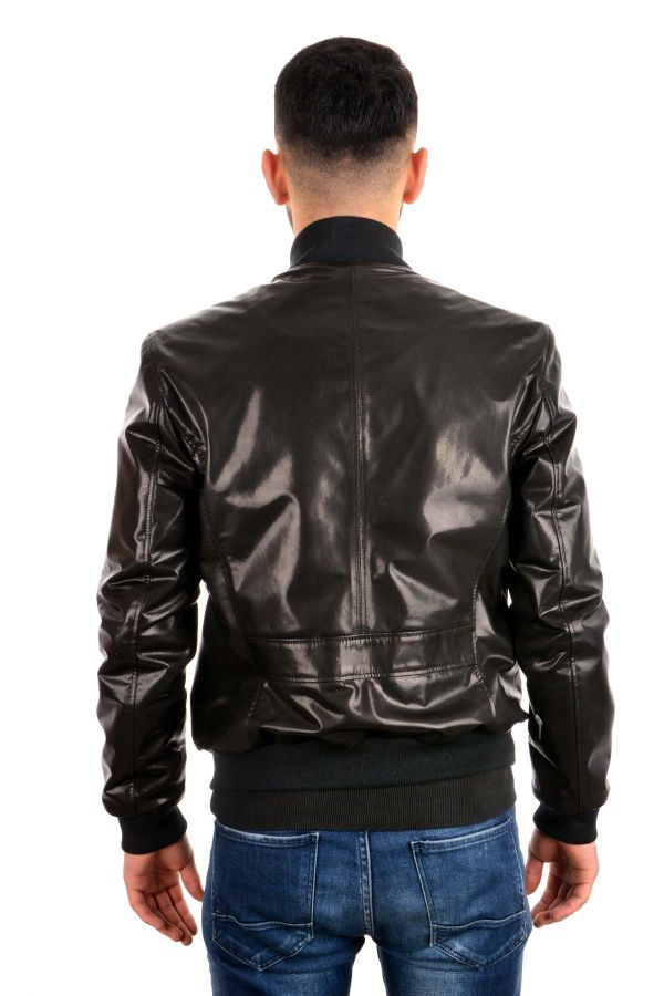 Pegia Hakiki Deri Fermuar Detaylı Erkek Ceket Siyah