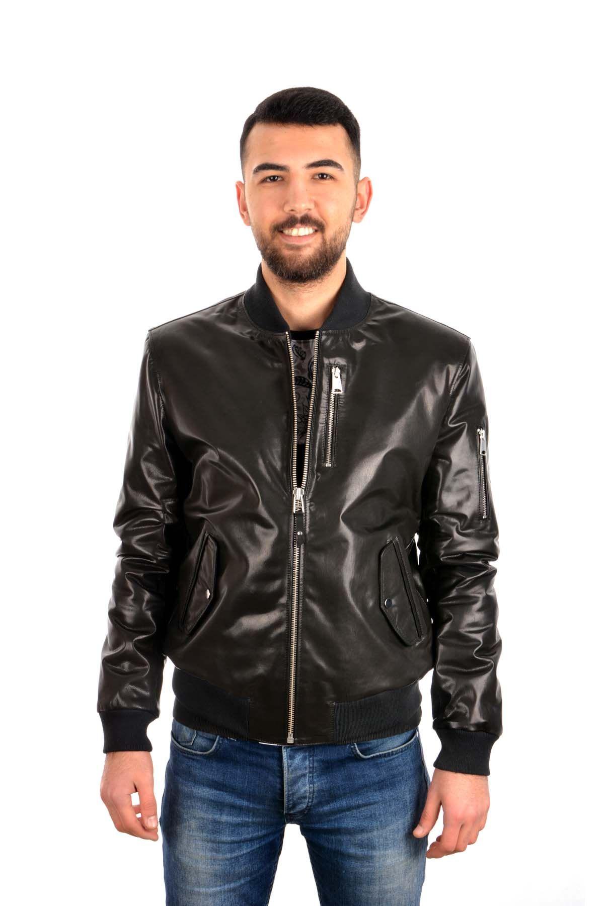 Pegia Мужская Куртка Из Натуральной Кожи С Молниями Черный