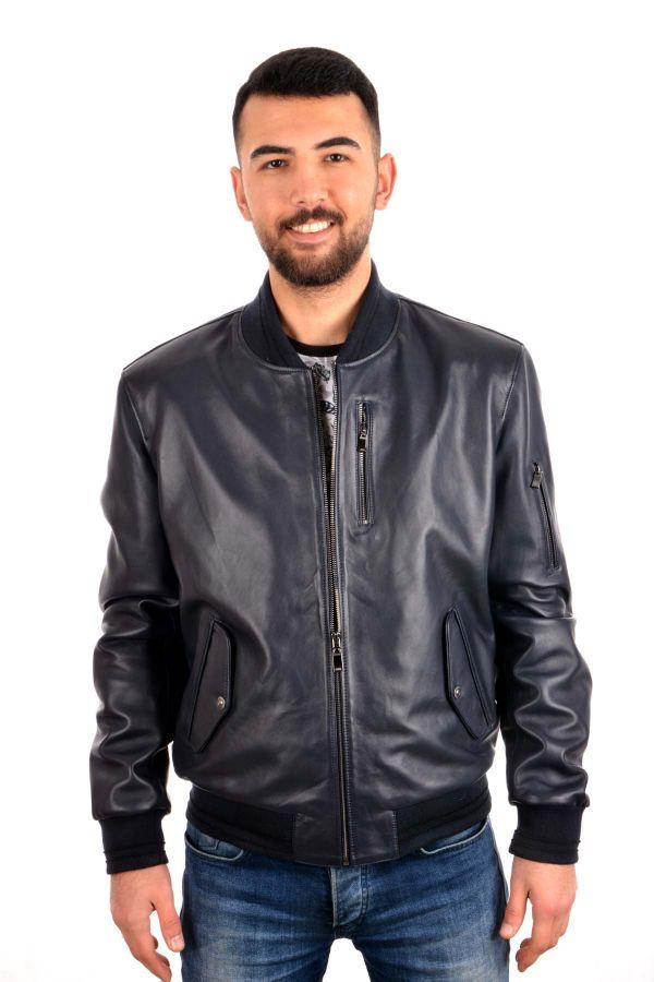 Pegia Zipped Men Leather Jacket Navy blue