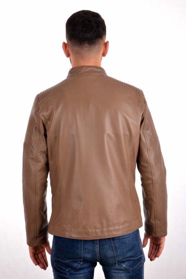 Pegia Zipped Men Leather Jacket Light Brown
