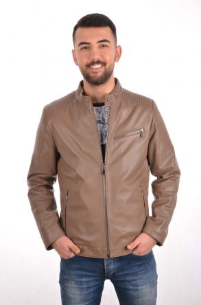 Pegia Zipped Men Leather Jacket Light Brown