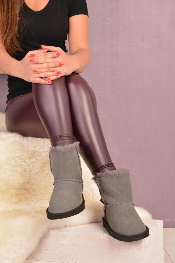 Pegia Short Women Uggs From Genuine Fur Decorated With Bow Gray