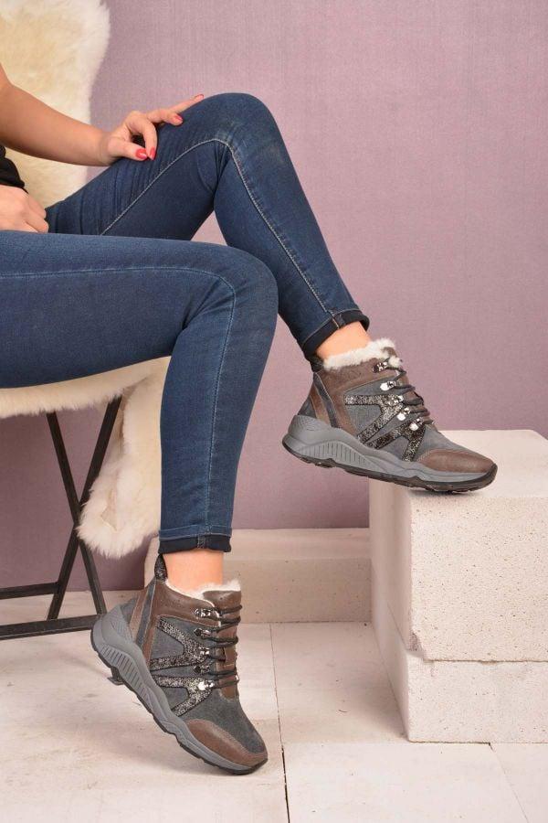 Шнурованные Женские Ботинки Из Натурального Меха Серый