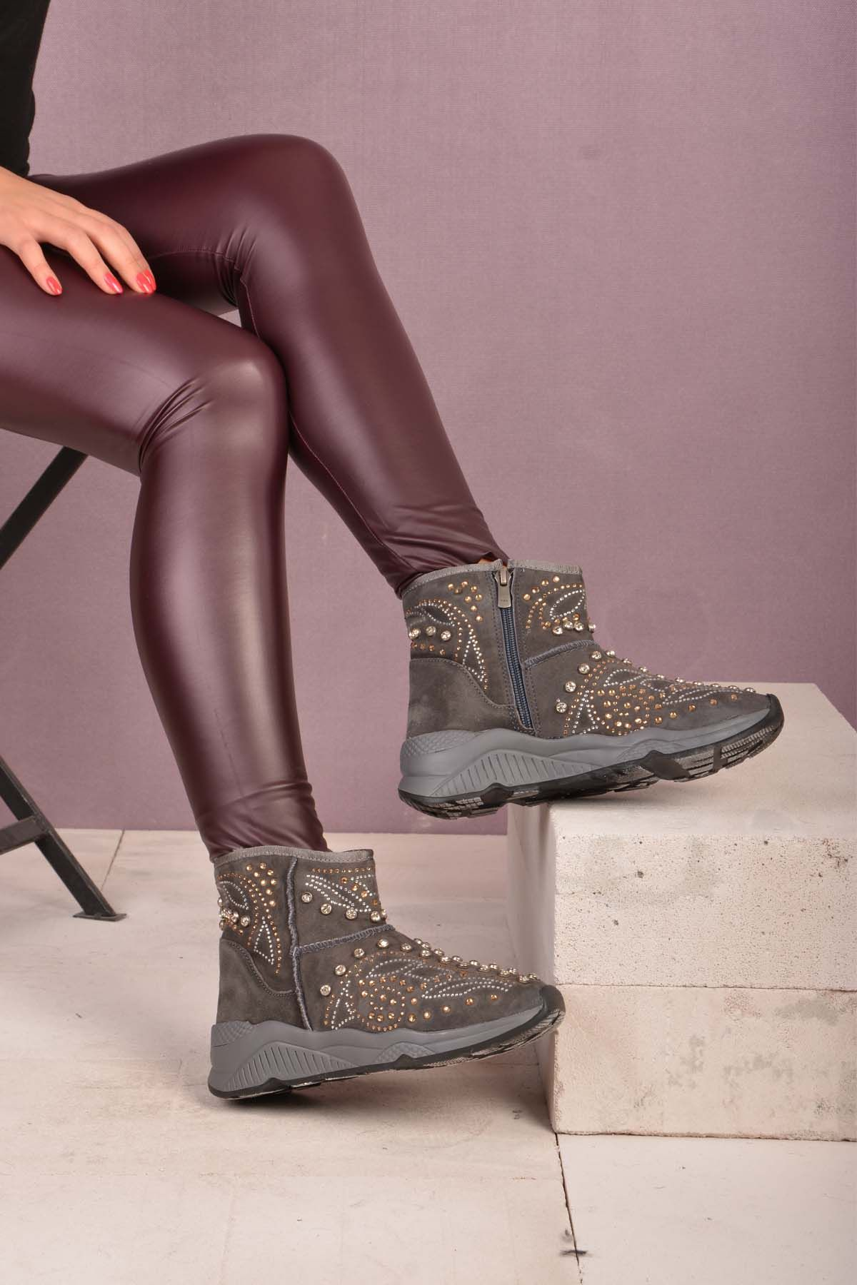 Pegia Women Boots From Genuine Suede And Fur Decorated With Jewels Gray