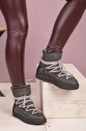Pegia Шнурованные Женские Ботинки Из Натурального Меха Серый