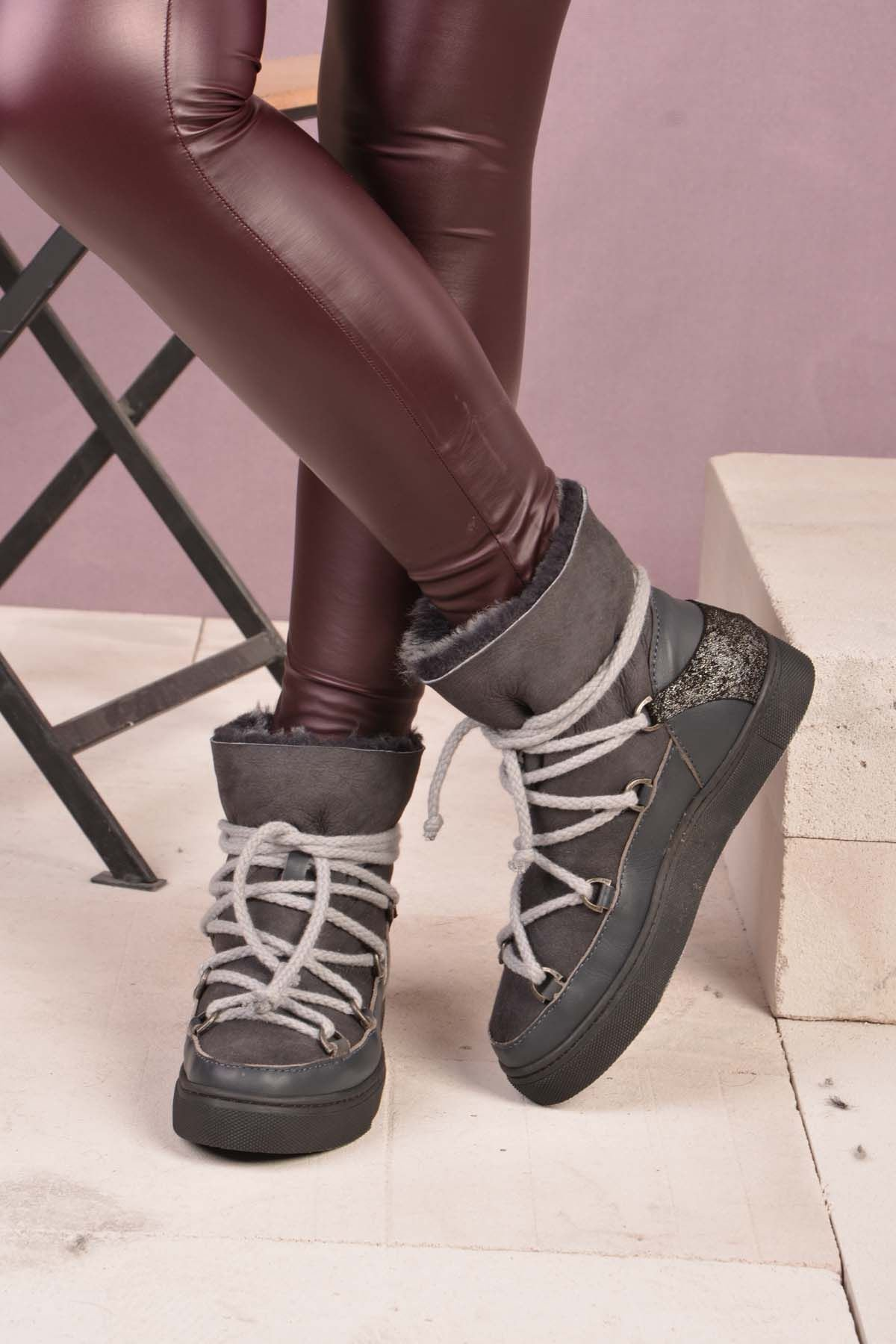 Pegia Laced Women Boots From Genuine Fur Gray