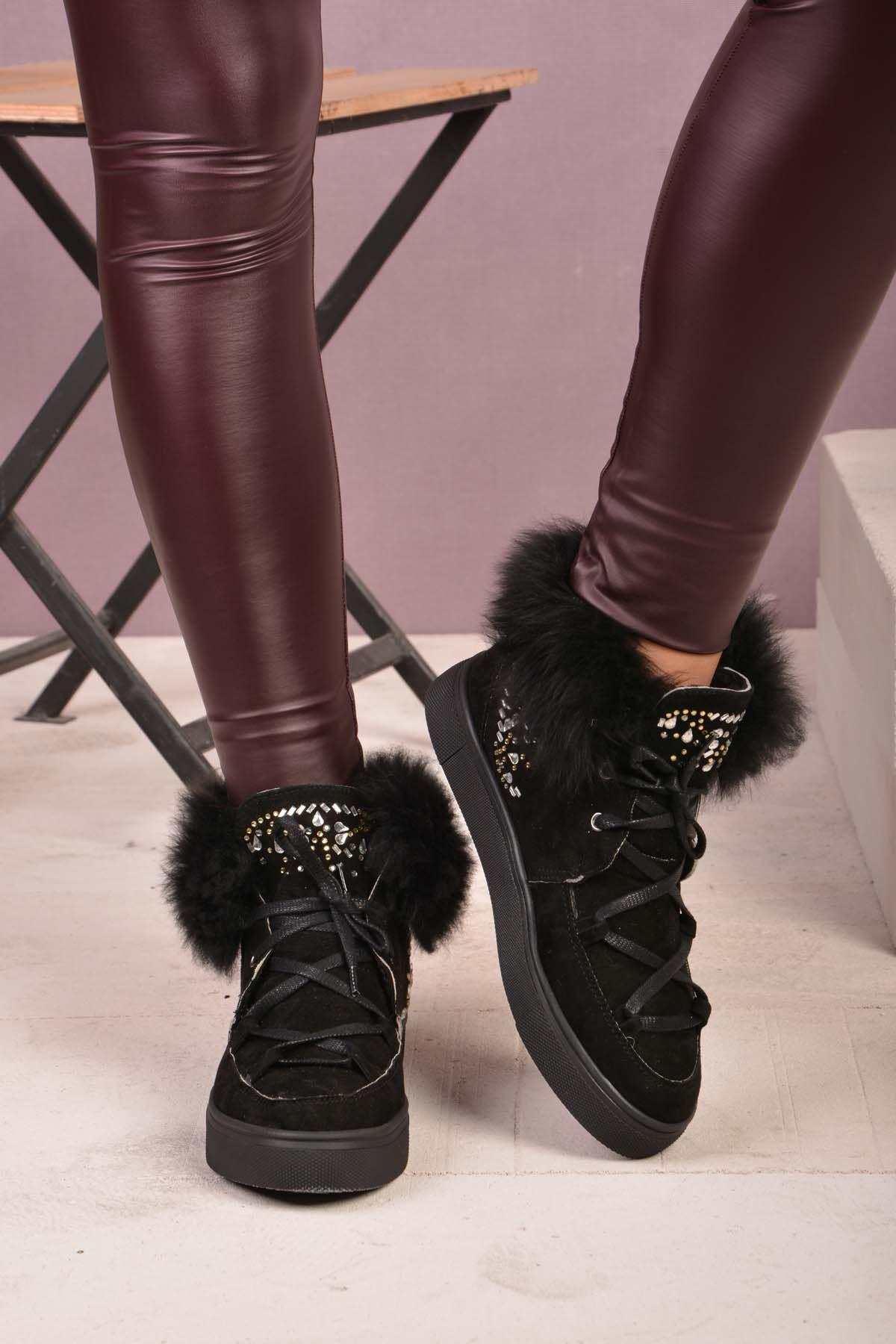 Pegia Женские Ботинки Из Натуральной Замши И Меха С Камнями  Черный