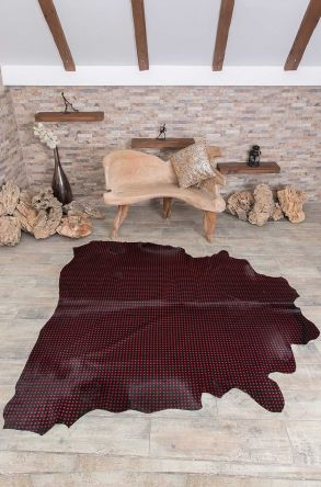 Erdogan Deri Calfskin Rug With Droplet Pattern Red