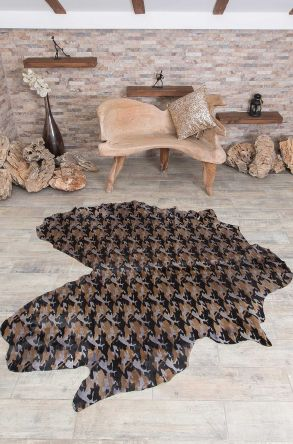 Erdogan Deri Calfskin Rug With Camouflage Pattern Gray
