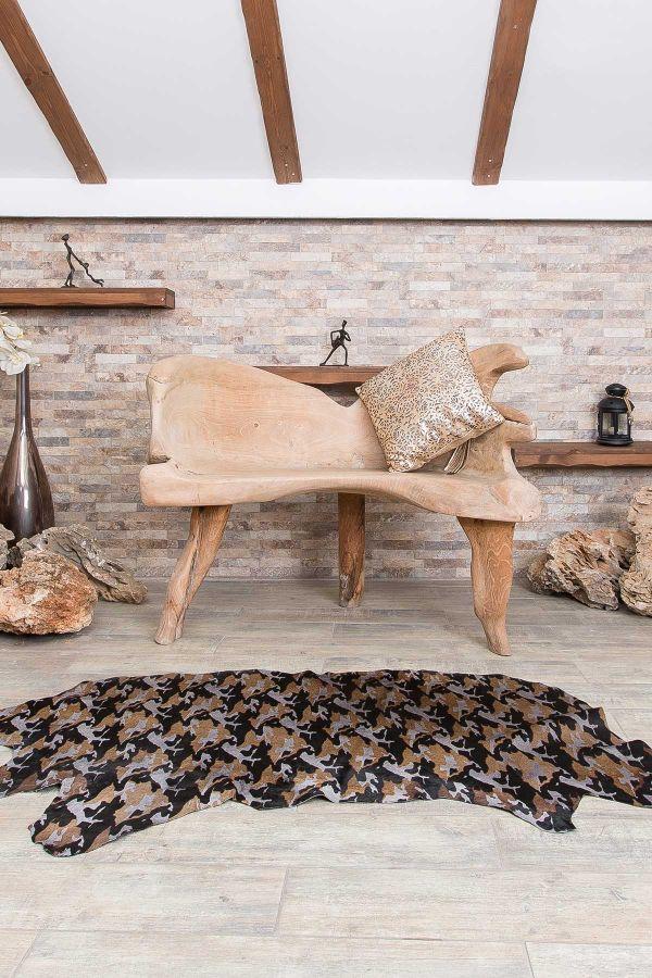 Erdogan Deri Decorative Calfskin Rug With Crocodile Pattern Gray