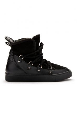Pegia Laced Women Sneakers From Genuine Leather & Fur Black
