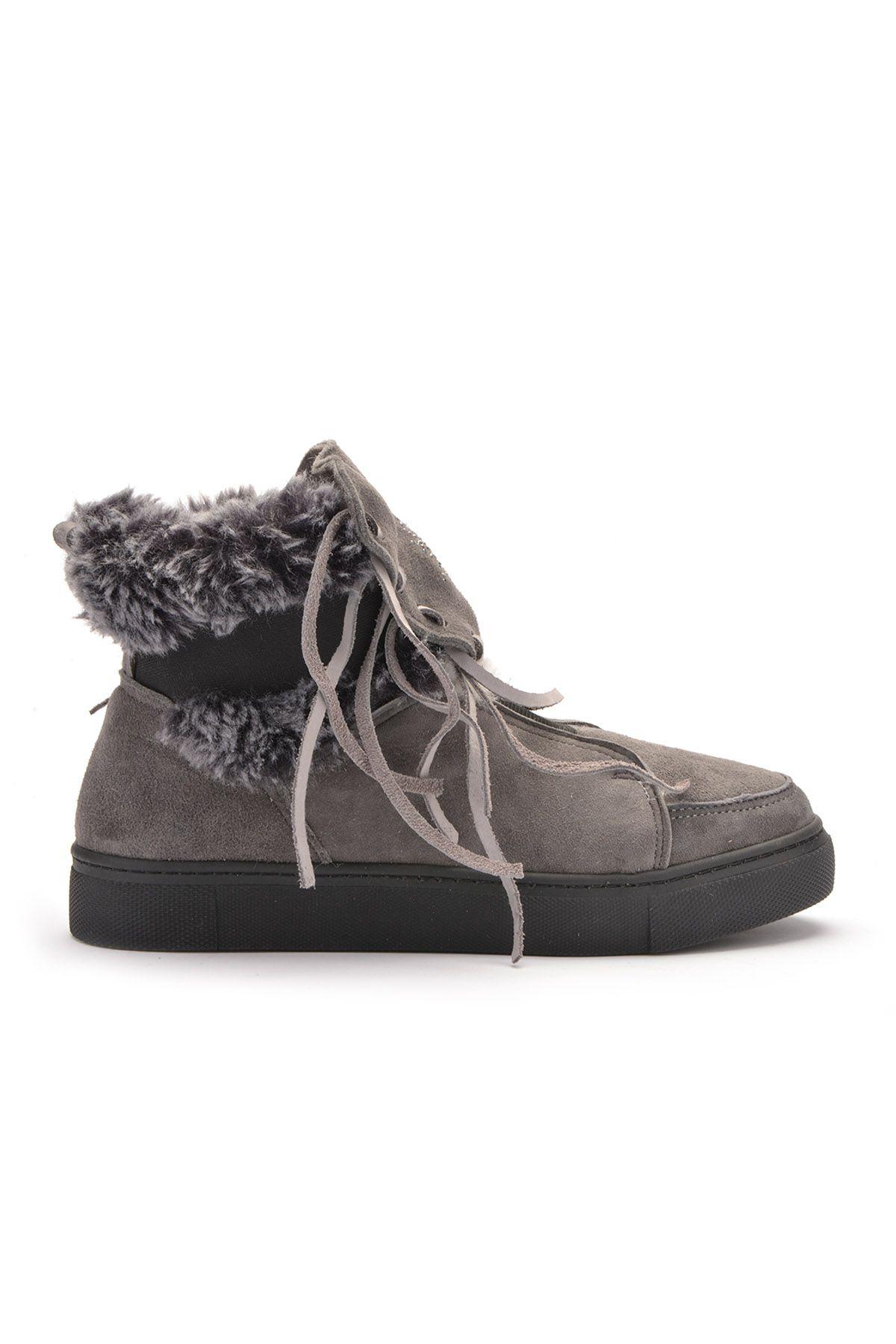 Pegia Женские Ботинки Из Натурального Меха И Замши С Резиновыми Шнурками  Серый