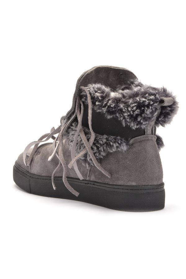 Pegia Laced Women Boots From Genuine Suede & Fur Gray