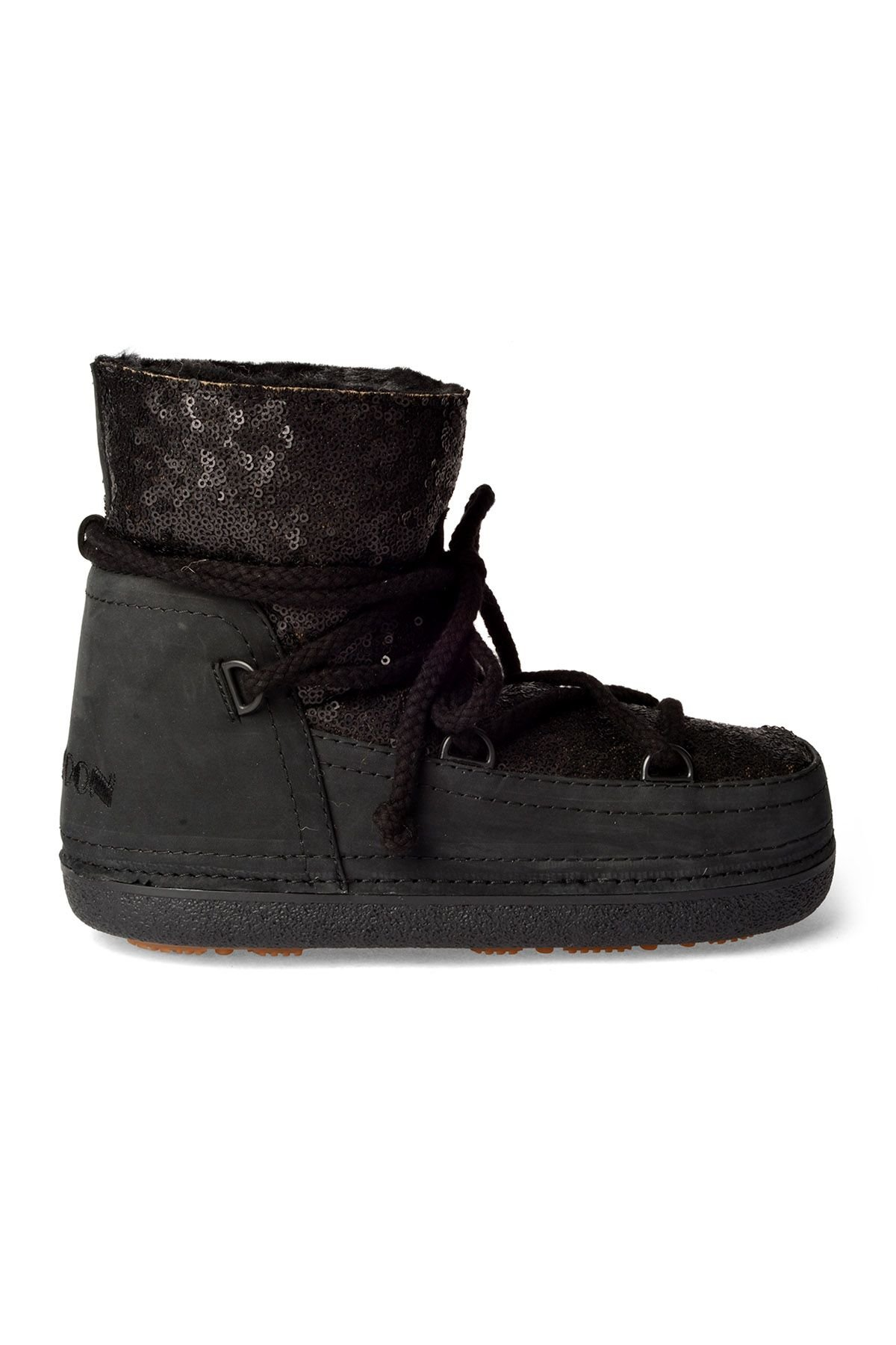 Cool Moon Women Snowboots From Genuine Fur With Sequins Black