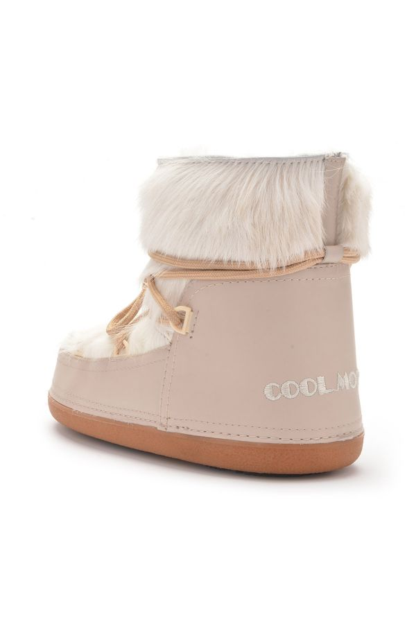 Cool Moon Women Snowboots From Genuine Fur Beige