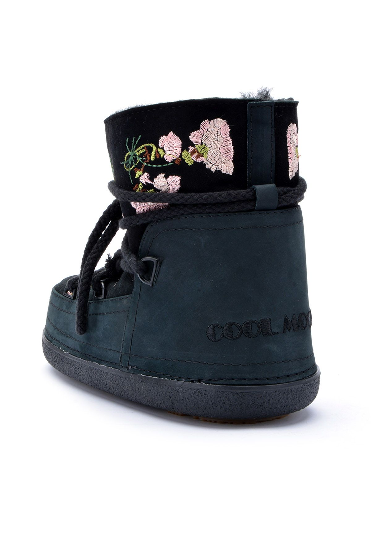 Cool Moon Women Snowboots From Genuine Fur And Suede Decorated With Embroidering Black