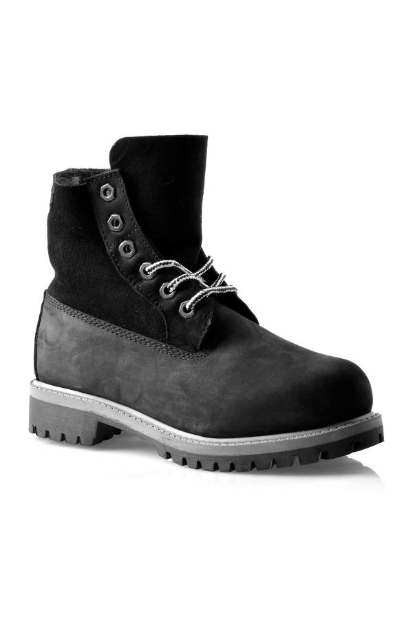 Pegia Laced Women Boots From Genuine Fur And Nubuck Black