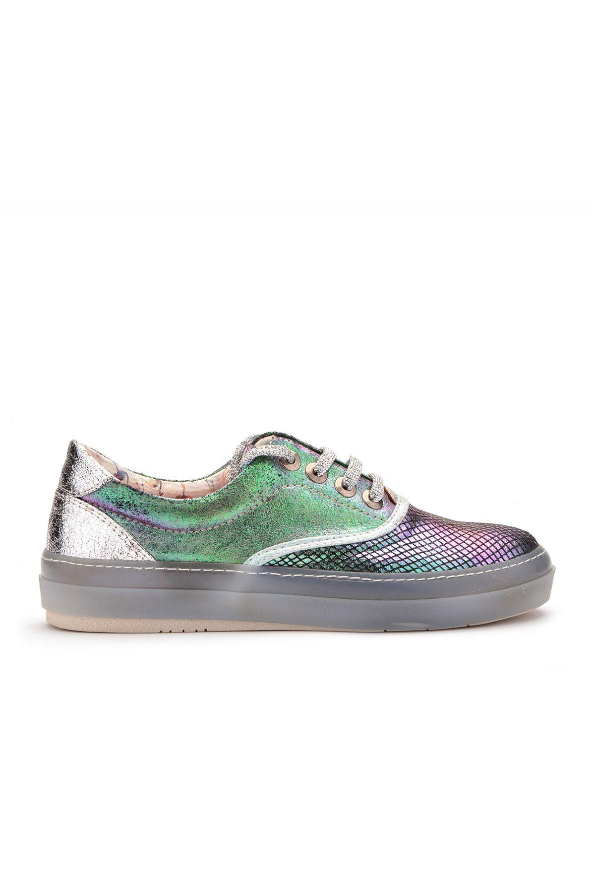 Art Goya Hologram Baskı Simli Bayan Günlük Ayakkabı  Yeşil
