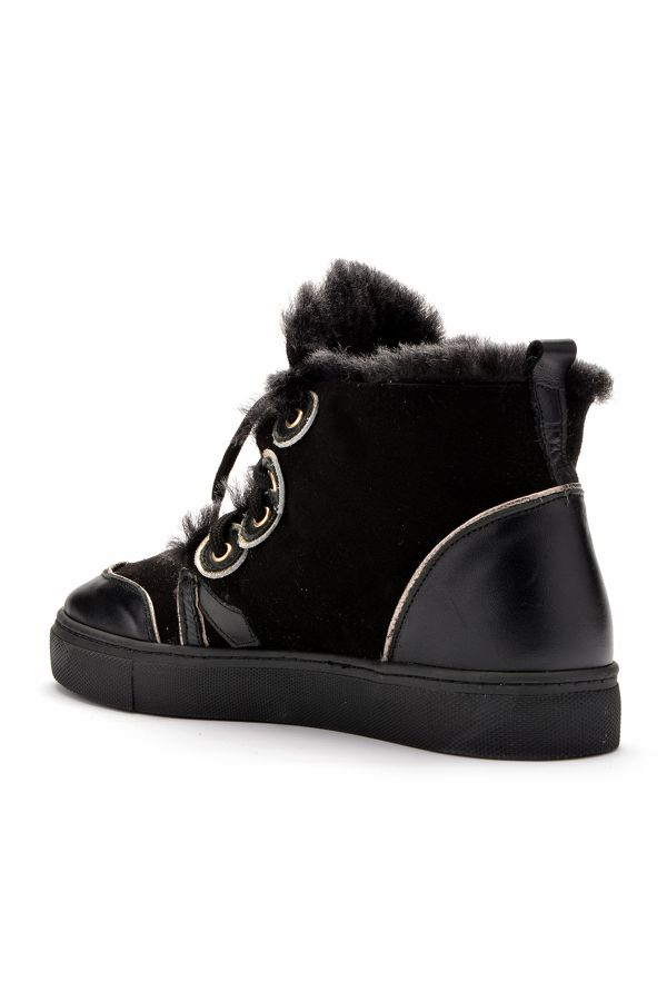 Pegia Laced Women Boots From Genuine Fur Black
