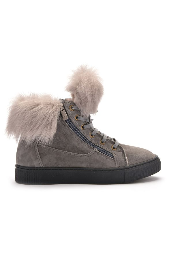 Pegia Women Boots With Zip Decorated With Genuine Toscana Fur Gray